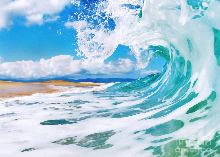 Ocean Greeting Card featuring the painting True Blue by Paul Topp