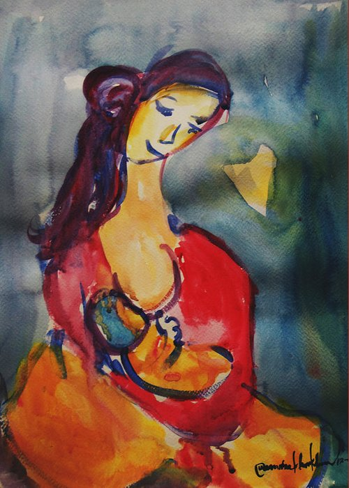 Greeting Card featuring the painting True Love #2 by Wanvisa Klawklean
