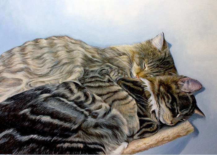 Cats Greeting Card featuring the painting True Love by Susana Falconi