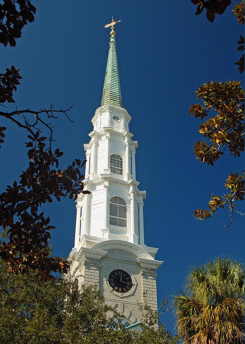 Steeple Greeting Card featuring the photograph True North - Savannah Steeple by Suzanne Gaff
