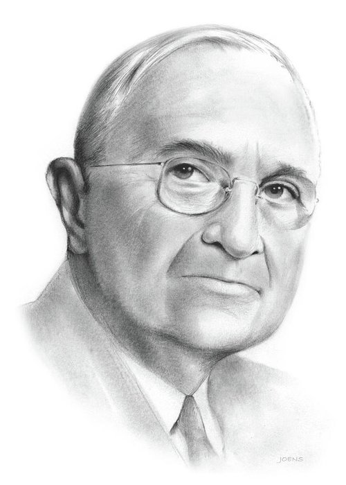 Truman Greeting Card featuring the drawing Truman by Greg Joens
