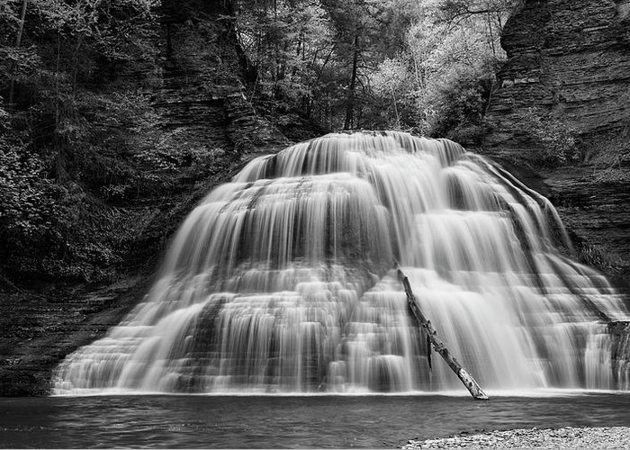 Ithaca Greeting Card featuring the photograph Truman Lower Falls - Bw by Stephen Stookey
