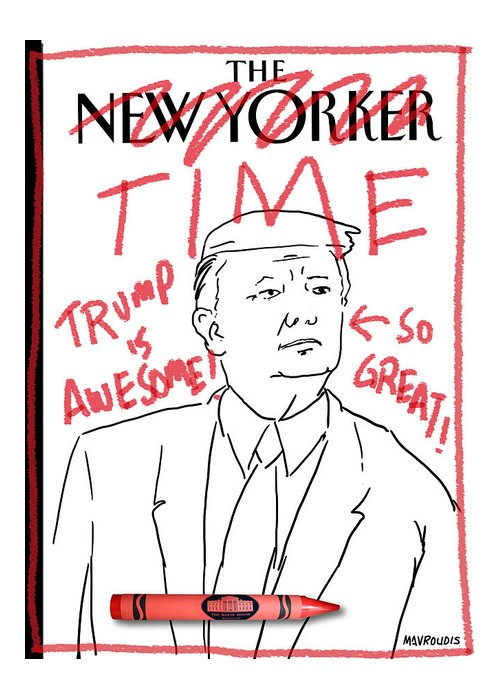 Captionless Greeting Card featuring the drawing Trump Time by John Mavroudis