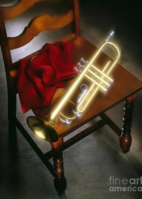 Trumpet Greeting Card featuring the photograph Trumpet On Chair by Tony Cordoza