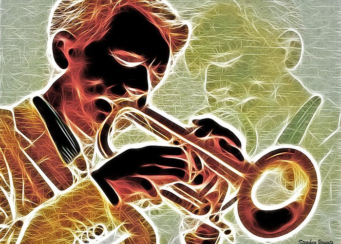 Trumpet Greeting Card featuring the digital art Trumpet by Stephen Younts