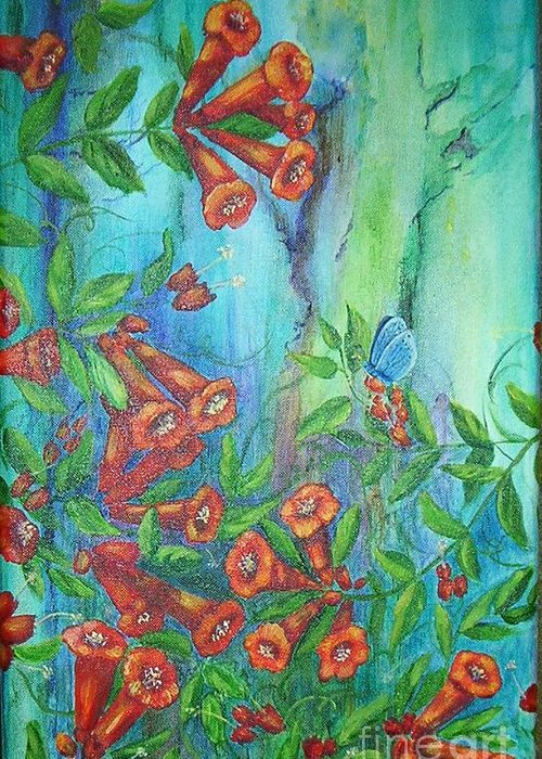 Trumpet Greeting Card featuring the painting Trumpet Vine With Butterfly by Sheri Hubbard