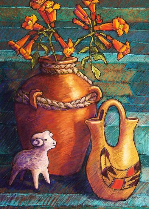 Still Life Greeting Card featuring the pastel Trumpet Vines And Pottery by Candy Mayer