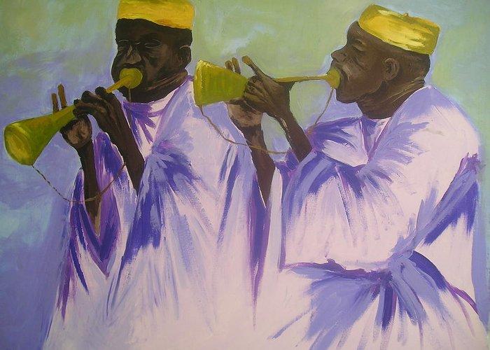 Local Greeting Card featuring the painting Trumpeters by Joe Ibenegbu Azunna