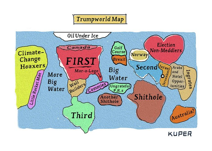 Trumpworld Map Greeting Card featuring the drawing Trumpworld Map by Peter Kuper
