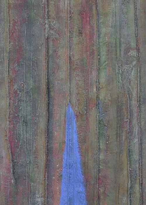 Tree Trunk Blue Abstract Nature Greeting Card featuring the painting Trunk by Sally Van Driest