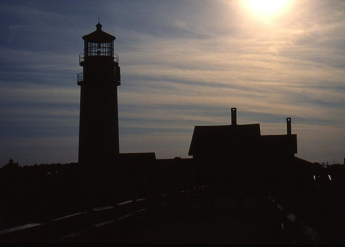 Ocean Greeting Card featuring the photograph Truro Lighthouse In Silhouette by Roger Soule