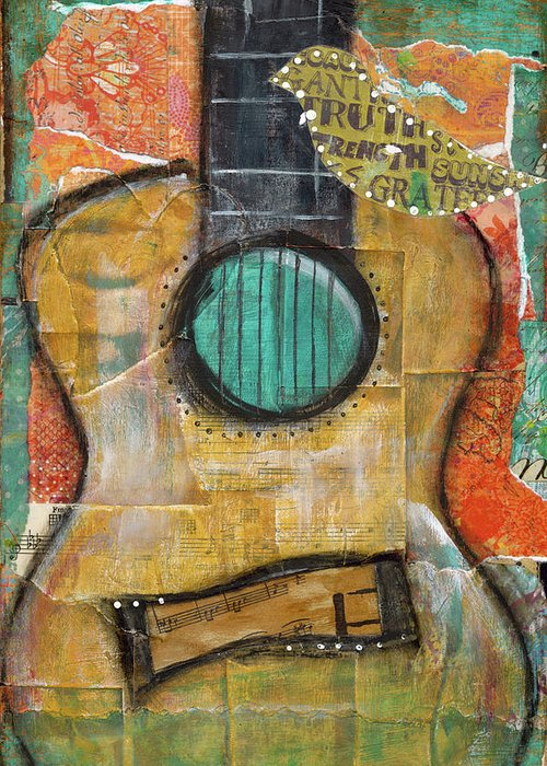 Guitar Greeting Card featuring the mixed media Truth by Krista Brock