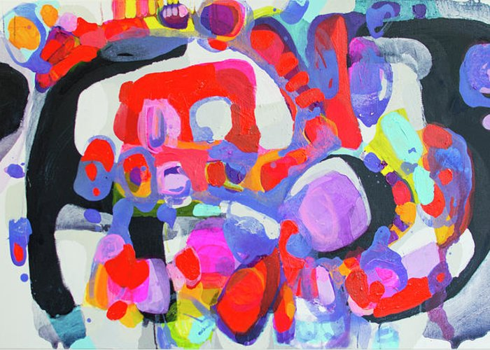 Abstract Greeting Card featuring the painting Try Me by Claire Desjardins