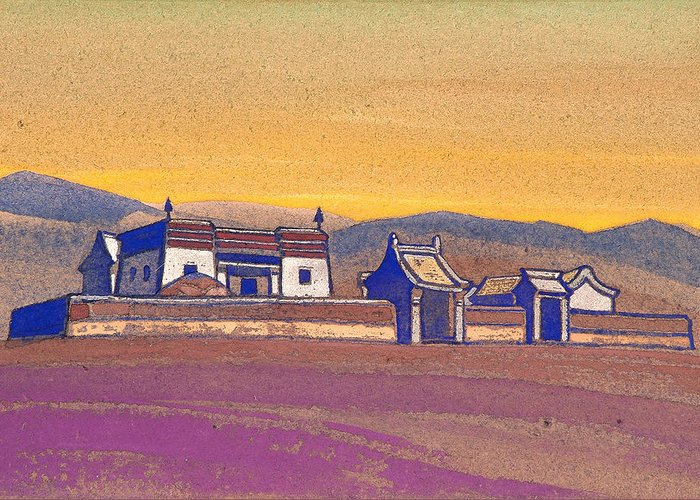 Architectural Greeting Card featuring the painting Tsagan-kure, Inner Mongolia by Nicholas Roerich