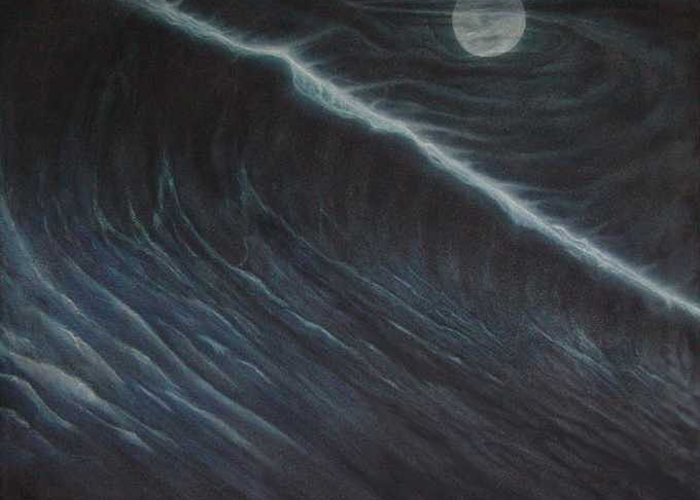 Seascapes Greeting Card featuring the painting Tsunami by Angel Ortiz