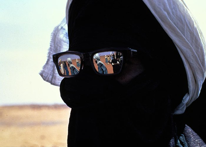 Reflection Greeting Card featuring the photograph Tuareg With Sunglasses by Carl Purcell
