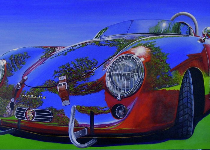Car Greeting Card featuring the painting Tub Effects by Lynn Masters