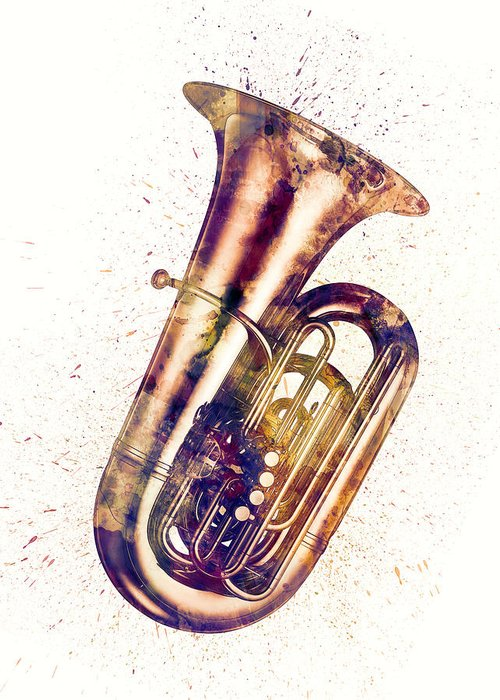 Tuba Greeting Card featuring the digital art Tuba Abstract Watercolor by Michael Tompsett