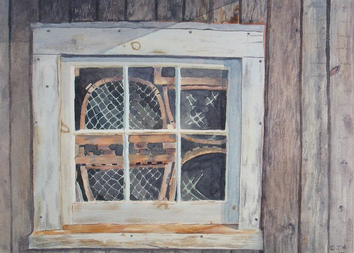 Lobster Traps Greeting Card featuring the painting Tucked Away by Debbie Homewood