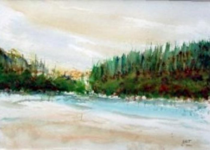 Landscape Greeting Card featuring the painting Tudla Lake by Lloyd Bast