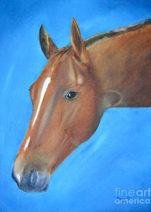 Horse Greeting Card featuring the painting Tuesday's Scotch Time by Mendy Pedersen