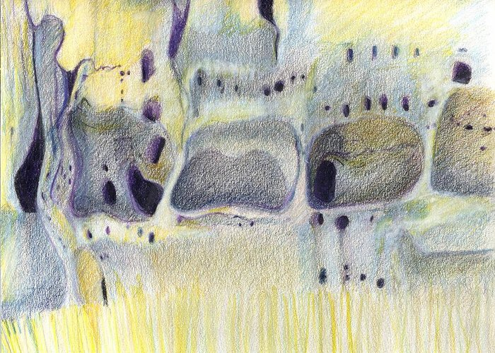 Bandelier National Monument Greeting Card featuring the drawing Tuff Caves by Harriet Emerson