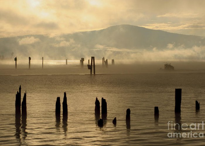 Tugboat Greeting Card featuring the photograph Tugboat In The Mist by Idaho Scenic Images Linda Lantzy