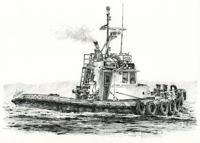 Tugs Greeting Card featuring the drawing Tugboat Kelly Foss by James Williamson