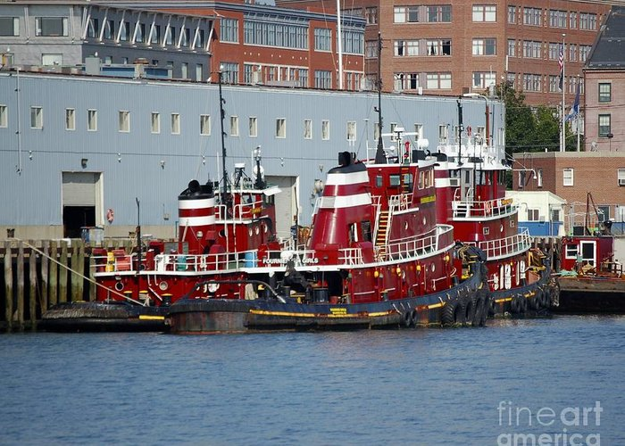 Tug Greeting Card featuring the photograph Tugs At Rest by Faith Harron Boudreau