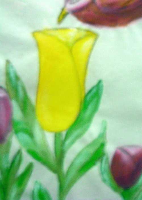 Flowers Greeting Card featuring the painting Tulip and Hummingbird by BJ Abrams