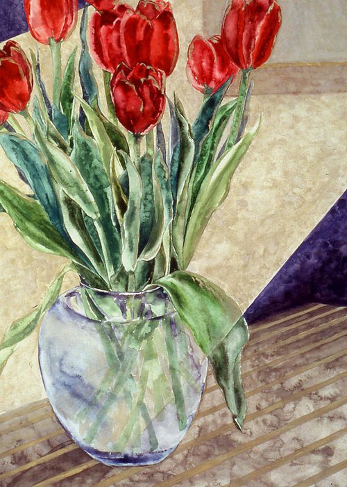 Watercolor Greeting Card featuring the painting Tulip Bouquet - 11 by Caron Sloan Zuger