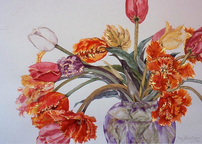 Watercolor Greeting Card featuring the painting Tulip Bouquet - 12 by Caron Sloan Zuger