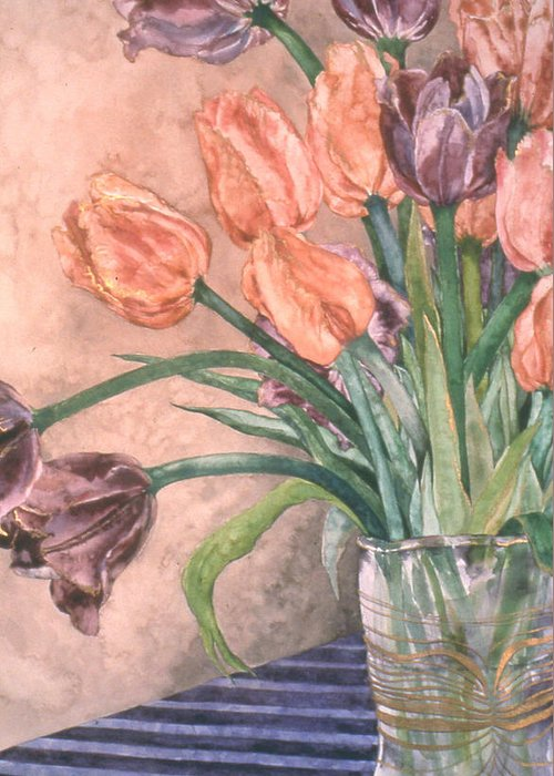 Floral Greeting Card featuring the painting Tulip Bouquet - 9 by Caron Sloan Zuger