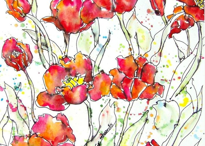 Tulips Greeting Card featuring the painting Tulip Dance by Jennifer Edwards