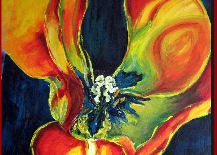 Tulip Greeting Card featuring the painting Tulip by Dragica Micki Fortuna