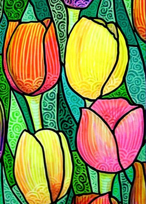 Tulips Greeting Card featuring the painting Tulip Expo by Jim Harris