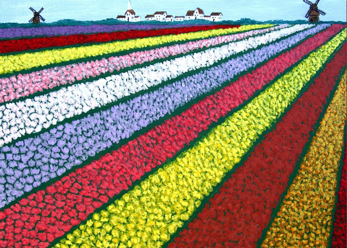 Landscape Paintings Greeting Card featuring the painting Tulip Fields by Frederic Kohli