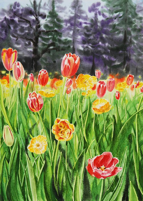 Flowers In Watercolors Greeting Cards