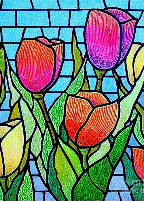 Tulips Greeting Card featuring the painting Tulip Garden by Jim Harris
