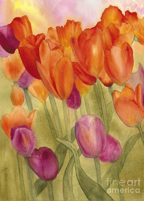 Tulips Greeting Card featuring the painting Tulip Glory by Louise Magno