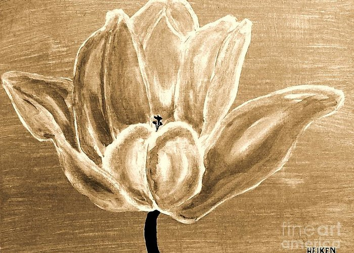 Painted Greeting Card featuring the painting Tulip In Brown Tones by Marsha Heiken