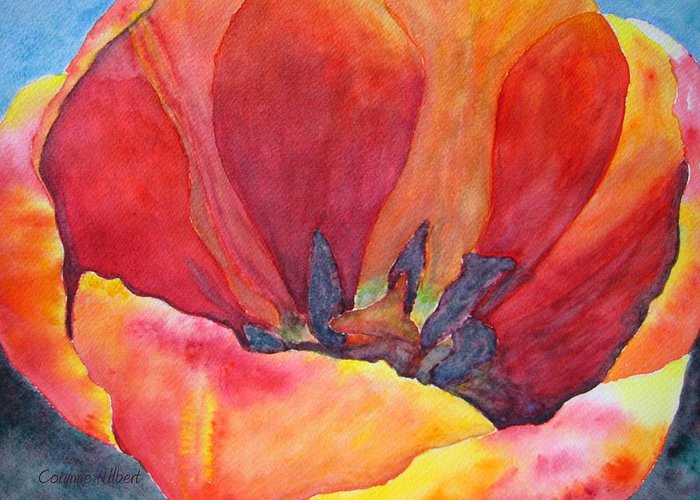 Tulip Greeting Card featuring the painting Tulip Splendor by Corynne Hilbert