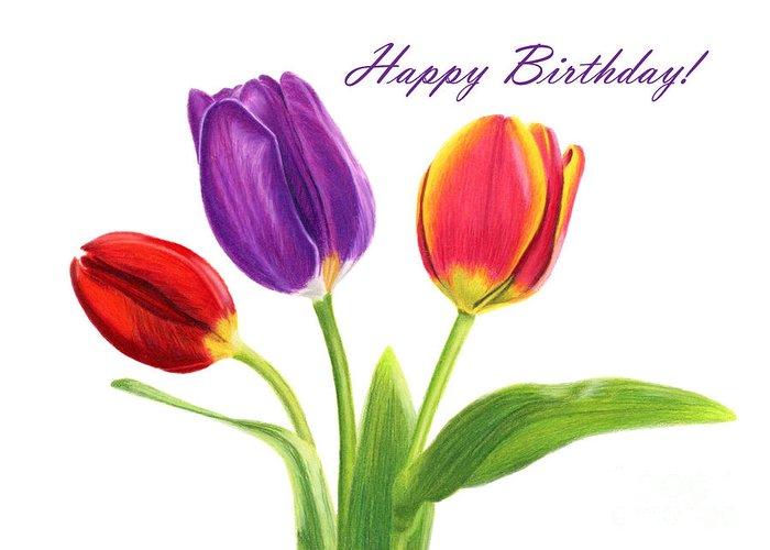 Tulip Trio Happy Birthday Cards Greeting Card For Sale By Sarah Batalka