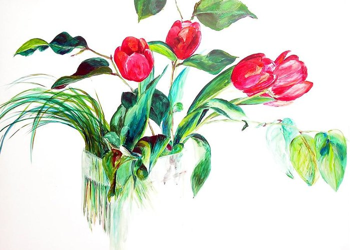 Flower Greeting Card featuring the painting Tulipes by Muriel Dolemieux