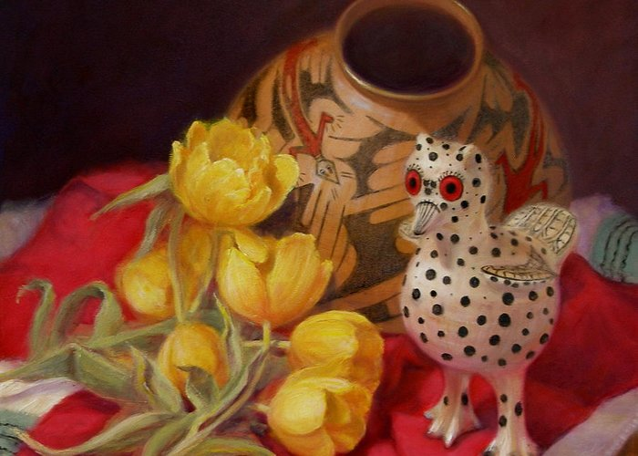Realism Greeting Card featuring the painting Tulips And Pottery by Donelli DiMaria