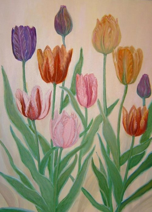 Flowers Of Spring Greeting Card featuring the painting Tulips by Ben Kiger