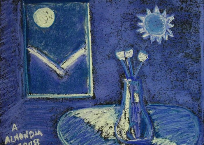 Tulips Greeting Card featuring the painting Tulips By Moonlight - Blue Notes Version by Albert Almondia