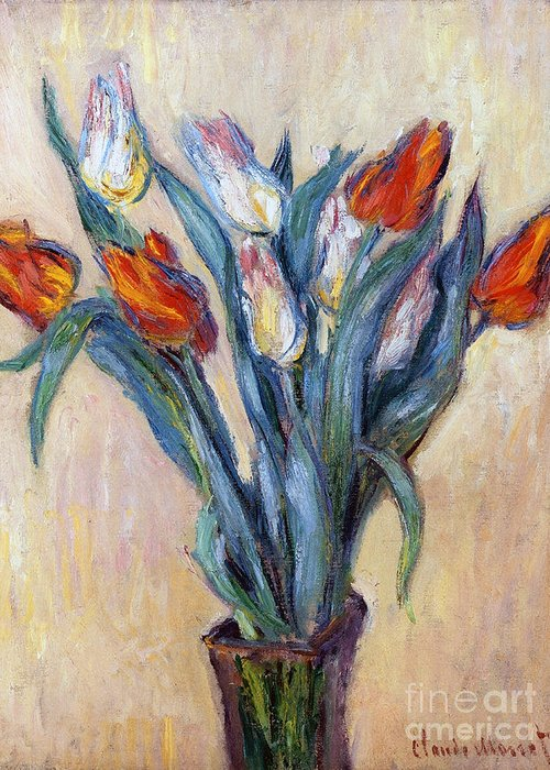 Tulips Greeting Card featuring the painting Tulips by Claude Monet
