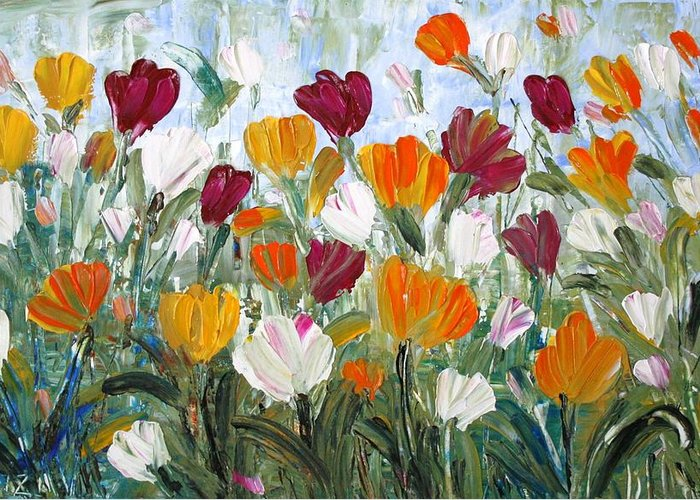 Oil Greeting Card featuring the painting Tulips Garden by Luiza Vizoli