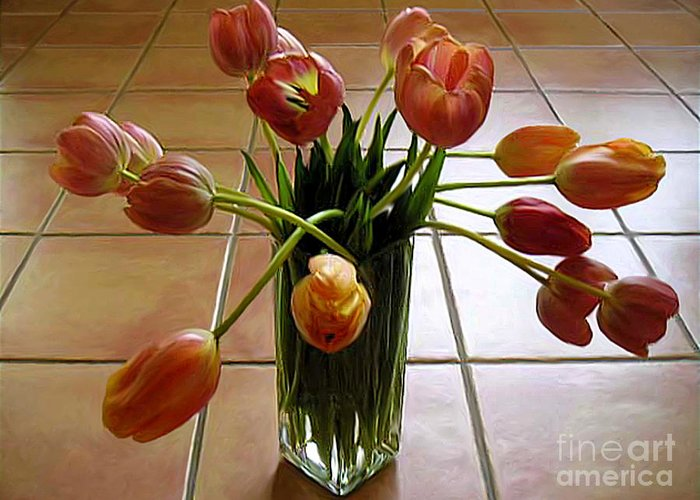 Nature Greeting Card featuring the photograph Tulips In A Vase On Tile by Lucyna A M Green
